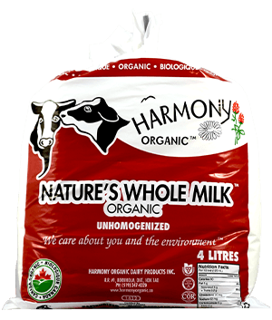 Unhomogenized Organic Nature's Whole Milk 4 Litre Bag