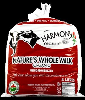 Unhomogenized Organic Nature's Whole Milk 4 Litre Bag