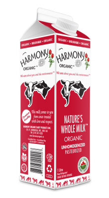Unhomogenized Organic Nature's Whole Milk One Litre Carton