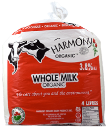 Organic 3.8% Whole Milk 4 Litre Bag