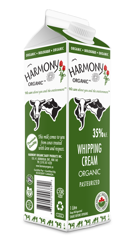 Organic 35% Whipping Cream One Litre Carton